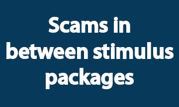 Scams between stimulus packages blue